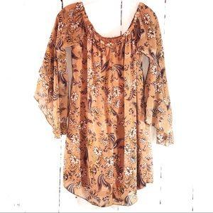 RUE 21 | Boho Floral Chiffon Mini Dress Tunic S